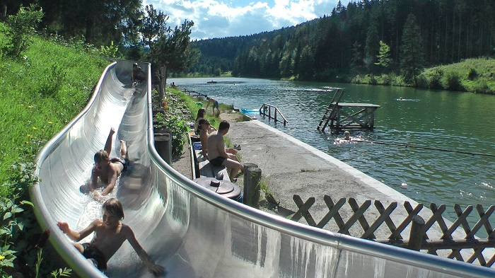 Bathing fun and water slide at Grubsee